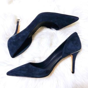 441e8476a White House Black Market Shoes - WHBM Ella Blue Suede D Orsay Heels 💙